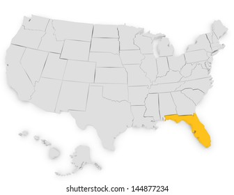 3d Render of the United States Highlighting Florida
