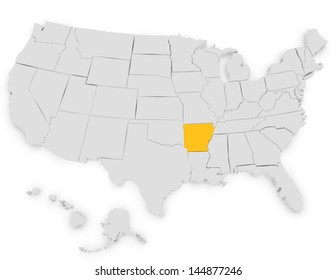 3d Render of the United States Highlighting Arkansas