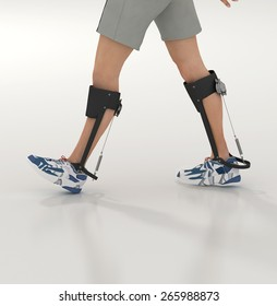 3d render of a unpowered human exoskeleton