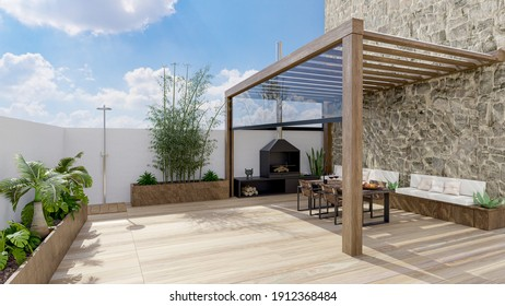 3D render of urban terrace with natural plants and teak wood flooring.Bioclimatic pergola with table, chairs and barbecue.