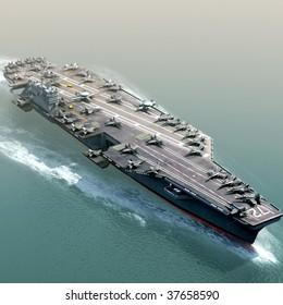 3D Render of US Navy Aircraft Carrier