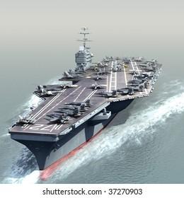 3D Render of a US Navy Nuclear Aircraft carrier (CVN)