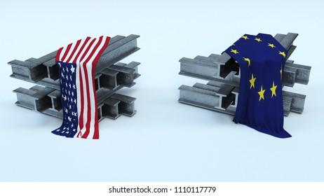 3D Render of US Steel Import Tarrifs