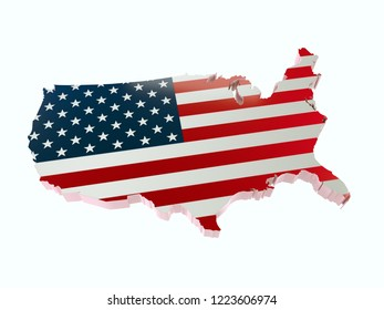 3D render of USA borderline with national flag colors on white background