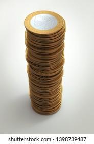 3D Render of Various Turkish Lira Coins