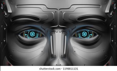 3D Render very detailed futuristic robot eyes