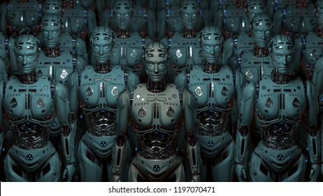3D Render Very detailed robot army or group of cyborgs