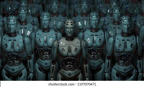 3Dレンダリング非常に詳細なロボットの軍隊またはサイボルグのグループ