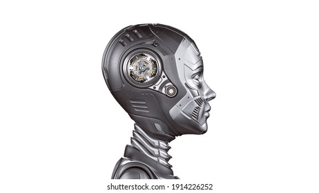3d render of a very detailed robot woman or futuristic cyber girl. Side view of the head isolated on white background