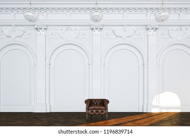 3d render vintage sofa in classic white interior front view