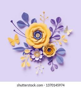 3d render, violet yellow craft paper flowers, botanical background, floral arrangement, festive bouquet, bright candy colors, isolated clip art, decorative embellishment