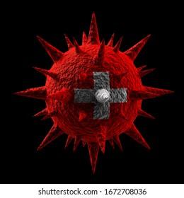 Rendu 3D du virus en couleurs du drapeau suisse isolé sur fond noir
