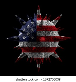 Rendu 3D du virus en couleurs du drapeau américain isolé sur fond noir