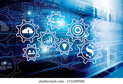 3d render visualization of ERP systems for managing digital flows, information, enterprise, and resources. Hud hologram on background of data flow and high-speed server equipment, blur in motion, fast