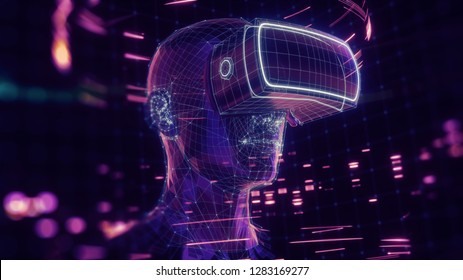 3D render, visualization of a man wearing virtual reality glasses, electronic head device, avatar, virtual data, ultraviolet grid, neon light. User interface. Player one ready for the game.
