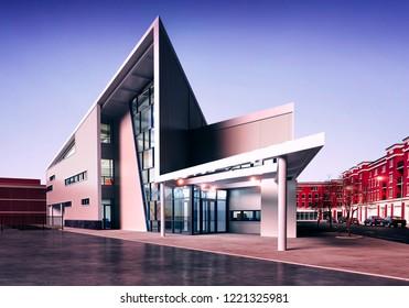 3d render, visualization of modern  commercial building
