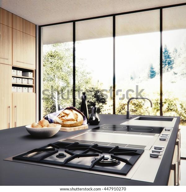 3D render- Visualization / rendering of a kitchen