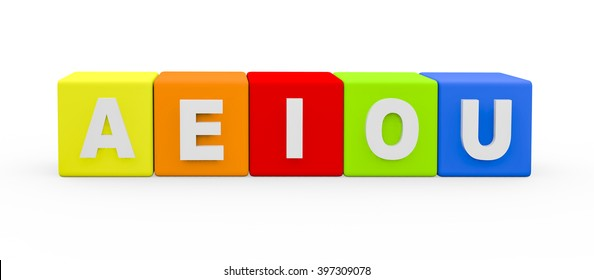 3d render vowel letters AEIOU building blocks on a white background.