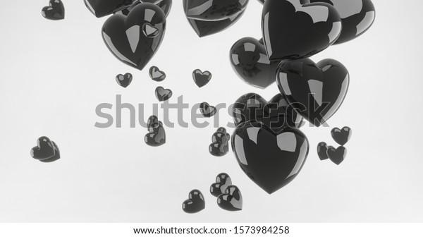 3d Render Wallpaper Glossy Black Heart Stock Illustration 1573984258