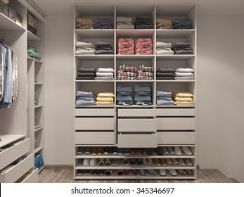 3D render of the wardrobe room in light tones