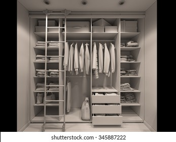 3D render of the wardrobe room in light tones. Render without textures and shaders
