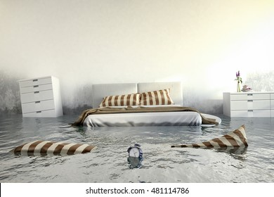 3d render - Water damager after flooding in house with furniture floating.