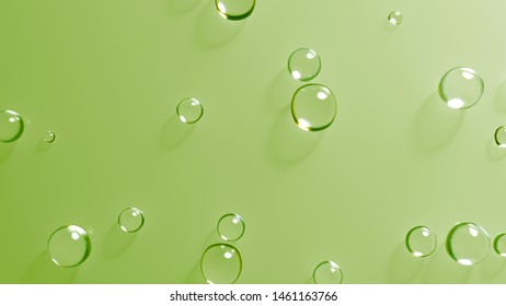 3d render of water or glass bubbles. Abstract simple background with drops.