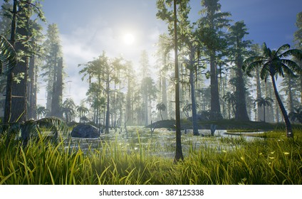 A 3D render of what Hell Creek may have looked like. Hell Creek was sub-tropical, home of Tyrannosaurus rex, and housed many different trees and plants including the Sequoia, Conifer, Palm, and Fern.
