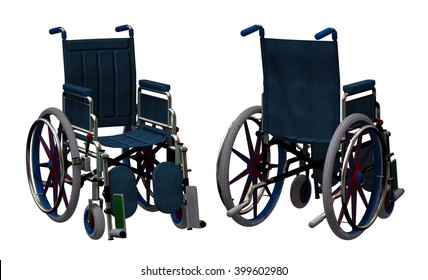 3D render of a wheelchair front and back view.