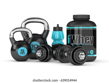 3d render of whey proteins with dumbbells, kettlebells and bottle isolated on white background