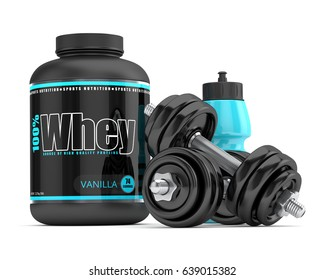 3d render of whey proteins with dumbbells and water bottle isolated on white background