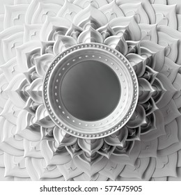 3d render, white abstract frame, chakra element, esoteric symbol