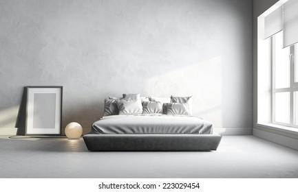 3d render of white bedroom