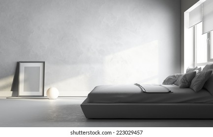3d render of white bedroom
