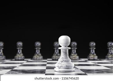 3D render of white and black marble chess pawns - one white pawn versus eight black pawn on chess board against black background