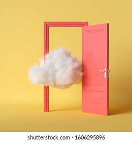 3d render, white cloud, open red door, objects isolated on bright yellow background. Abstract metaphor, modern minimal concept. Surreal dream scene