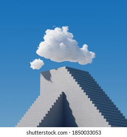 3d render, white clouds hang above the high concrete pyramid with stairs, under the blue sky. Modern minimal surreal background, challenge concept. Abstract urban cloudscape on a sunny day