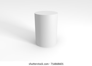 3d render of white cylinder on a gray background