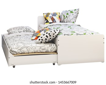 3d render of white double children's bed with storage on white background. Scandinavian interior. Bedding set