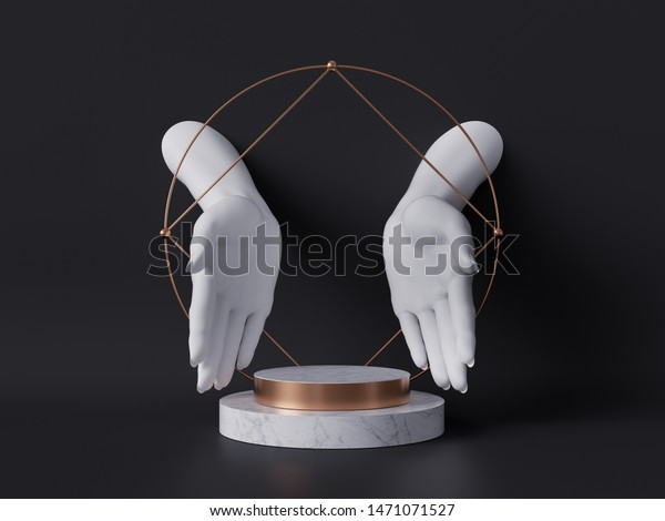 3d render, white female mannequin hands isolated on black background, open palms, fashion concept, marble pedestal, shop display, sacred geometry, clean minimal design, blank space, body parts