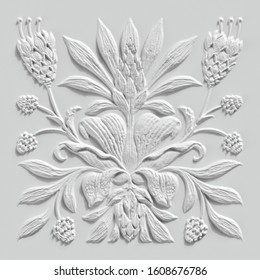 3d render, white floral carving, gypsum wall decor, carved stone tile, botanical pattern, medieval ornament, alabaster plaster texture, tropical flowers and leaves motif