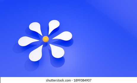 3D render of white flower with blue background
