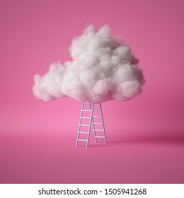 3d render, white fluffy cloud above the blue ladder, isolated on pink background