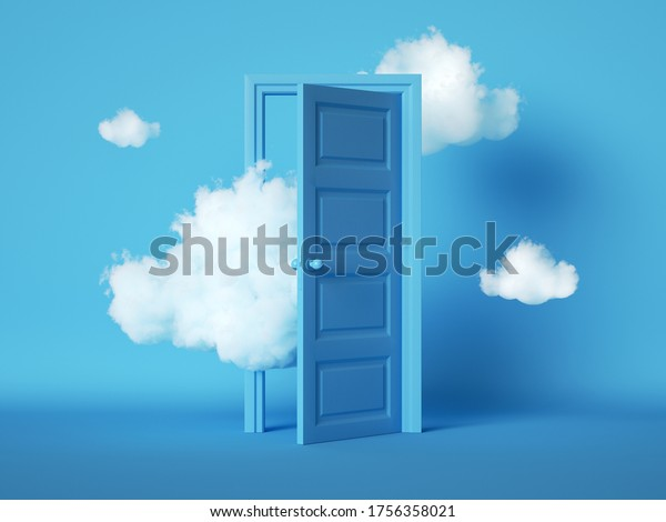 3d render, white fluffy clouds going through, flying out, open door, objects isolated on blue background. Door to haven abstract metaphor, modern minimal concept. Surreal dream scene