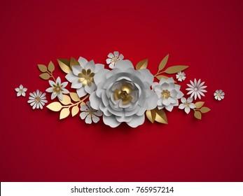 3d render, white gold paper flowers, floral border, botanical border, red background, Christmas decoration
