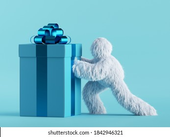 3d render, white hairy yeti pushes the big heavy gift box, bigfoot cartoon character prepares surprise. Festive clip art isolated on mint blue background