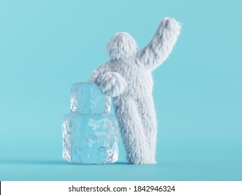 3d render, white hairy yeti stands near big ice cubes, bigfoot cartoon character. Winter clip art isolated on mint blue background