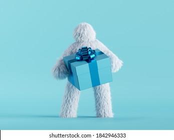 3d render, white hairy yeti holds gift box, bigfoot cartoon character celebrating. Festive clip art isolated on mint blue background