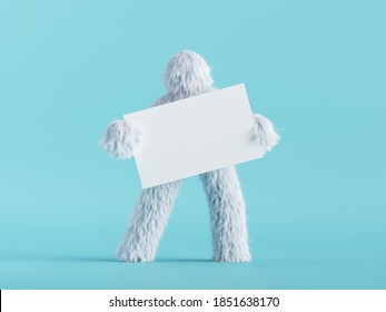 3d render, white hairy yeti holds blank card mockup, furry bigfoot toy with empty banner, funny winter monster cartoon character isolated on mint blue background, standing pose