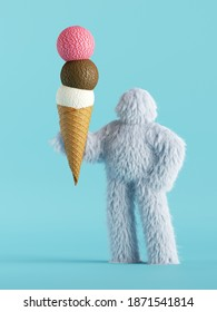 3d render, white hairy yeti holds assorted ice-cream balls in waffle horn, furry bigfoot toy. Food clip art isolated on light blue background